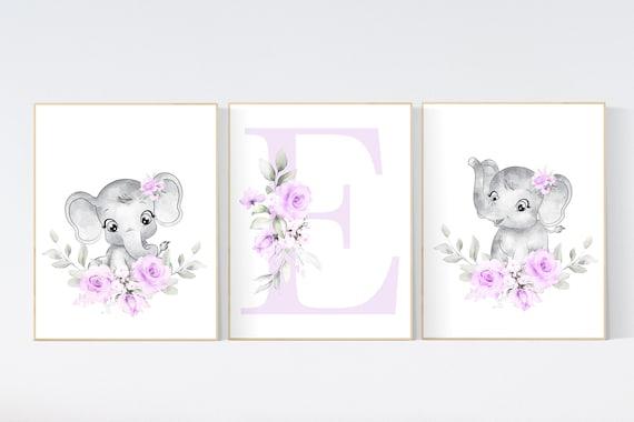 nursery wall art girl flowers, nursery wall art floral, flower nursery wall art, lilac nursery, elephant, purple, flower nursery wall decor