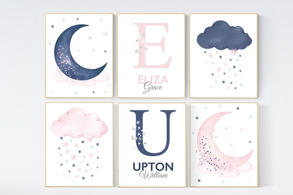 CUSTOM LISTING: Canvas Listing pink navy moon and clouds, nursery wall art, pink and navy, set of 6 canvases