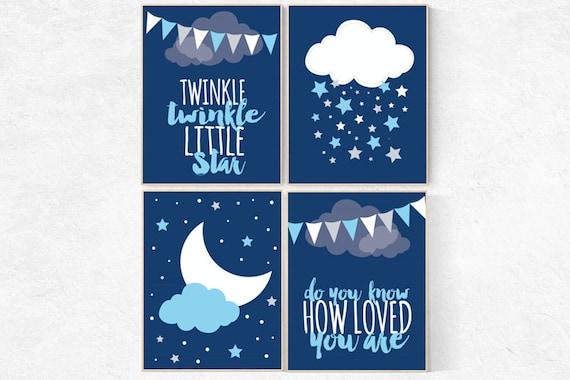 Nursery prints boy, navy blue nursery decor, nursery decor boy, twinkle twinkle, NAVY gray nursery decor stars and moon, boys room decor