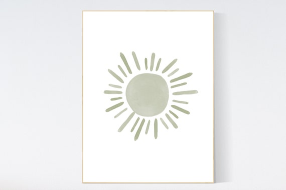 Nursery decor sage green, sunshine, green nursery, sun print, gender neutral, nursery wall art, nursery prints