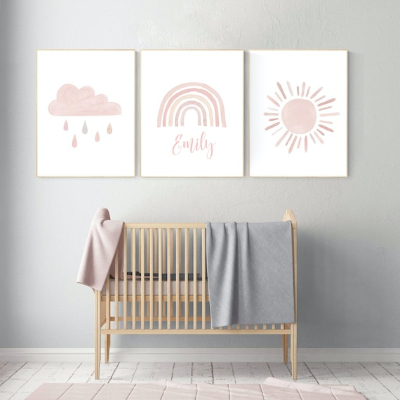 Nursery prints rainbow, rainbow nursery art, blush nursery, nursery decor girl, nursery wall art, blush pink, rainbow, moon, cloud