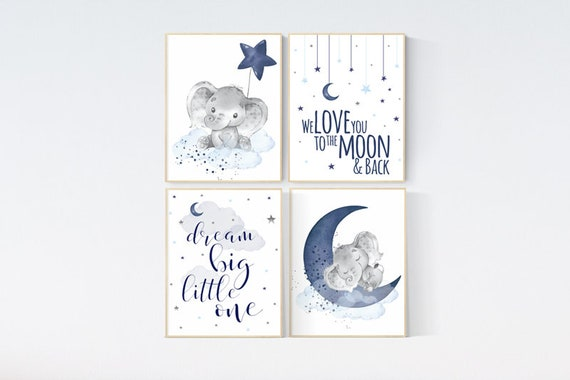 Nursery decor boy, elephant nursery, navy nursery decor, we love you to the moon and back, moon and stars, navy blue nursery art