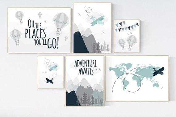 Nursery decor boy mountains adventure, mountain nursery art, adventure awaits. mountain, hot air balloon, planes, world map, gender neutral