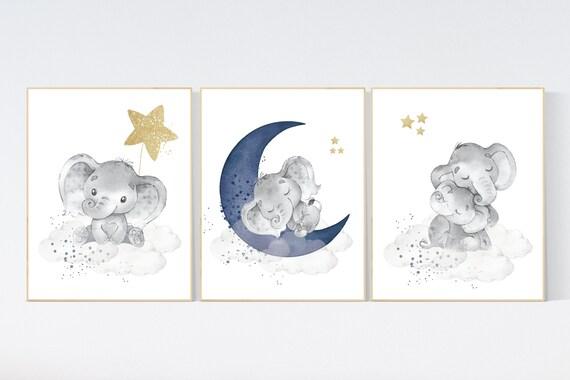 Navy nursery decor elephant, cloud and stars, moon and stars, navy gold nursery art. baby room wall art, boy nursery decor, nursery art