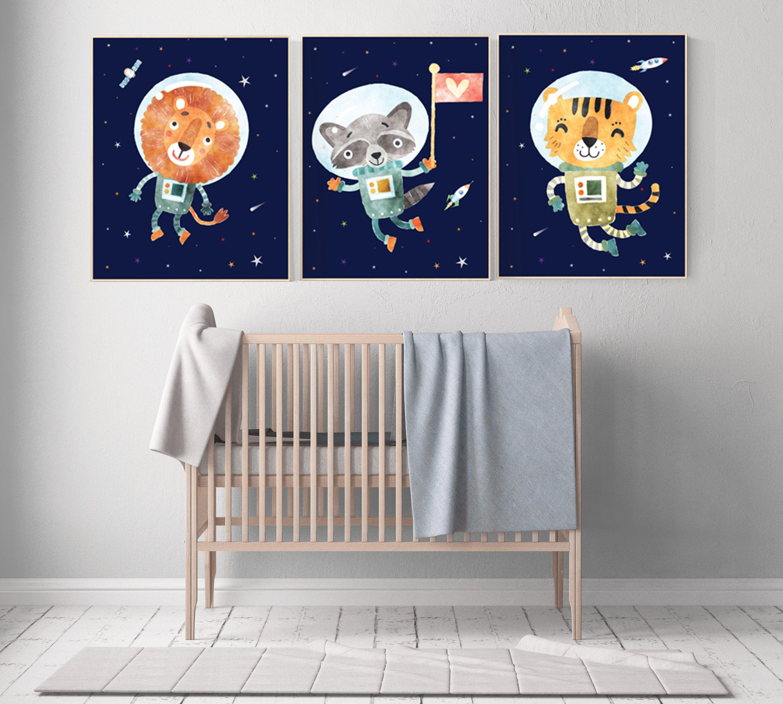 Nursery Decor Boy Space Animals Space Nursery Decor Space Themed Nursery Outer Space Boys Room Wall Art Baby Boy Space Nursery