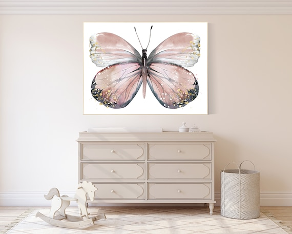 Nursery decor girl butterfly, blush, blush pink, Butterfly Nursery Art, girls room, butterfly prints, Butterfly Art, blush gold, neutral