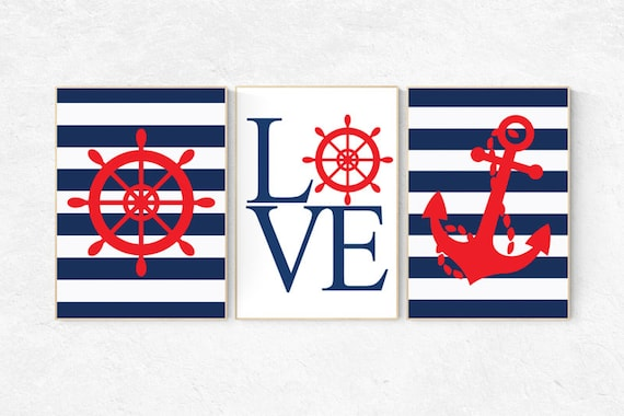 Nursery decor boy nautical, nautical baby room, sealife, Nautical Nursery Art, Navy red Nursery Decor, navy nursery, nursery decor nautical