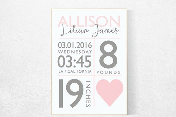 Girl birth announcement nursery decor, pink nursery decor, nursery prints, baby birth print, baby print, baby stats, new baby gift ideas