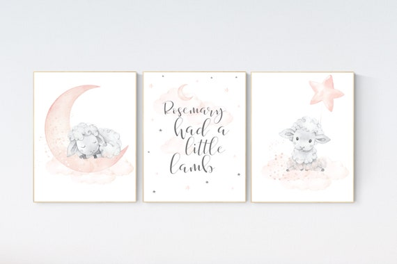 Nursery decor lambs, Nursery decor girl peach, sheep nursery, cloud and stars, moon and stars nursery, blush grey, sheep nursery