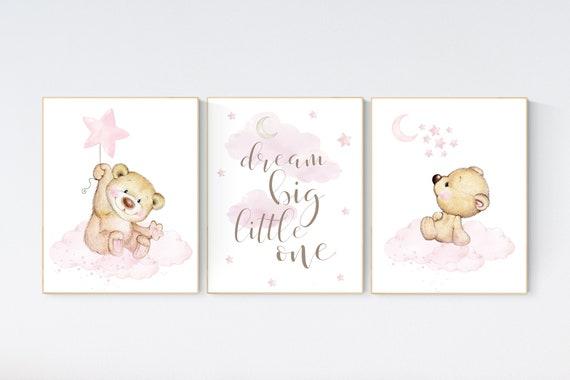 Bear nursery decor for girls, nursery decor girl, girl nursery decor, Nursery decor bear, nursery wall art girl teddy bear print for nursery