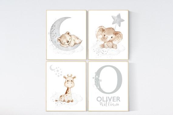 Nursery wall art animals, animal prints, gray nursery, gender neutral nursery, neutral nursery, baby room decor, bear, elephant, giraffe