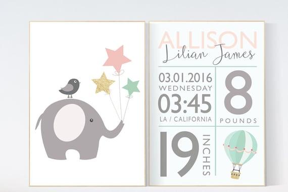 Birth stats wall art, pink mint gold nursery, pink and mint and gold  baby shower, mint nursery decor, elephant nursery, baby birth stats