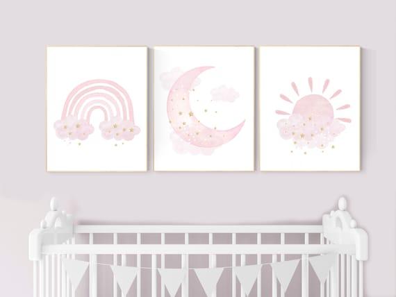 Nursery prints rainbow, Nursery decor girl, nursery wall art, pink gold nursery, moon, cloud, sun, nursery wall decor, pink and gold