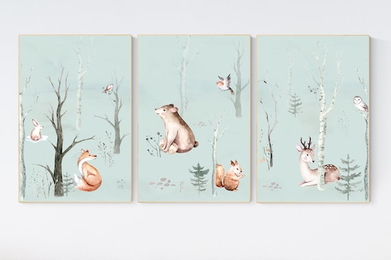 Nursery decor woodland animals, gender neutral nursery, Woodland Nursery Wall Art, Woodland animal prints, forest, animal nursery wall decor