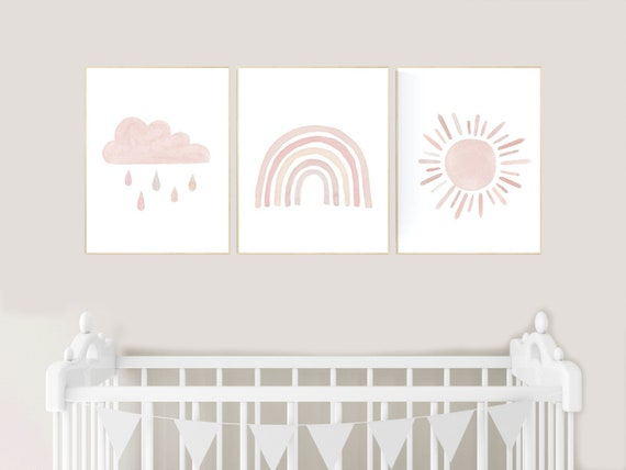 Nursery prints rainbow, blush pink Nursery decor girl, nursery wall art, moon, star, cloud, nursery wall art, blush, rainbow prints