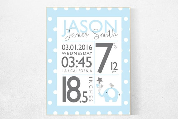 Birth stats, Personalized birth stats print, blue nursery decor, baby stats, Birth announcement wall art, baby name sign, baby room decor