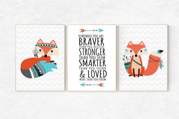 Fox nursery decor, nursery decor woodland, nursery decor fox, tribal nursery decor, woodland nursery, be brave little one baby room wall art