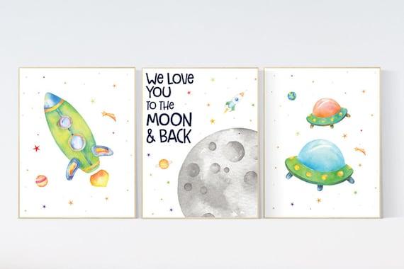 Space wall art nursery, Nursery decor boy space, Space wall art, animal prints, gender neutral, space nursery theme, outer space nursery art