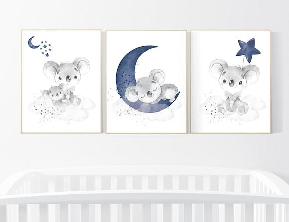 Navy nursery decor, koala nursery, moon and stars, navy blue nursery art, nursery prints animals, boy nursery decor, koala mother and baby