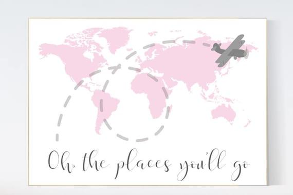 Pink nursery decor, world map nursery, Oh the places you'll go, World Map wall art, travel nursery decor,nursery decor girls, pink gray
