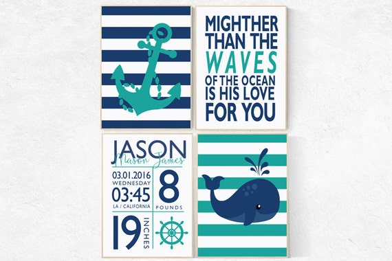 Nautical Nursery Decor, Nautical boy nursery, birth stats, mightier than the waves, Nautical Nursery Wall Art teal navy nursery decor whale