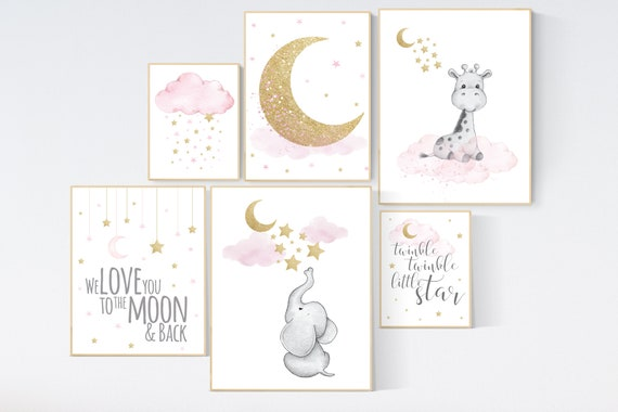 Canvas Listing: Nursery wall art girl, giraffe nursery, baby room decor girl gold and pink, we love you to the moon and back
