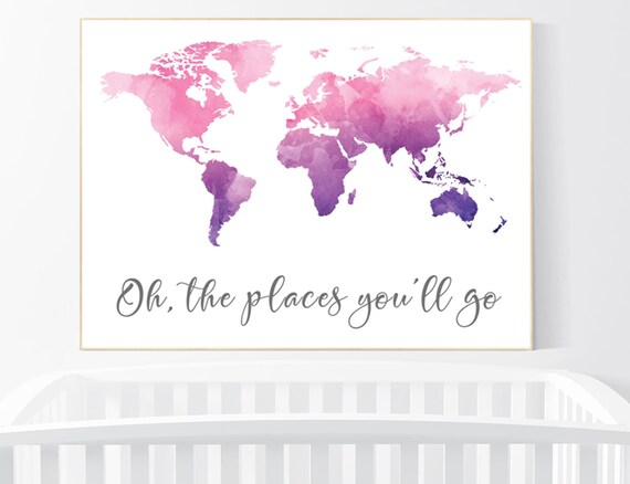 Nursery decor purple pink, world map print nursery, world map print watercolor, nursery wall art, purple and pink, world map wall art