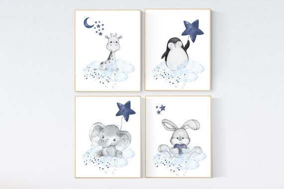 Nursery decor animals, elephant, giraffe, rabbit, penguin, bunny, animal nursery prints, navy blue, baby room wall decor, animal prints