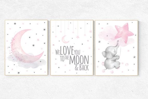 Elephant nursery wall art, Nursery decor girl, nursery decor girl pink, pink nursery, we love you to the moon and back, cloud and stars