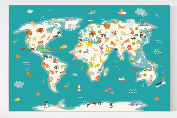 Animal World Map Animal Map Nursery Animals Map Animal Map Etsy