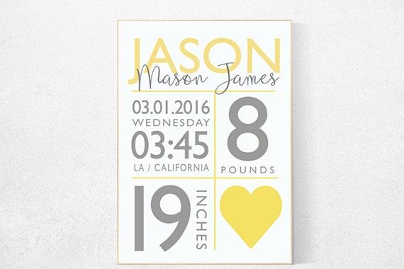 Yellow gray nursery, nursery decor girl name, gender neutral, yellow nursery, baby birth stats, yellow nursery wall art, girl nursery