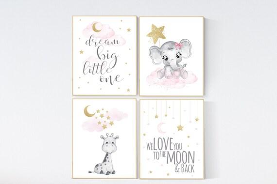 Nursery decor girl giraffe, elephant, pink and gold nursery, twinkle twinkle little star, pink nursery art, cloud and stars, baby room decor