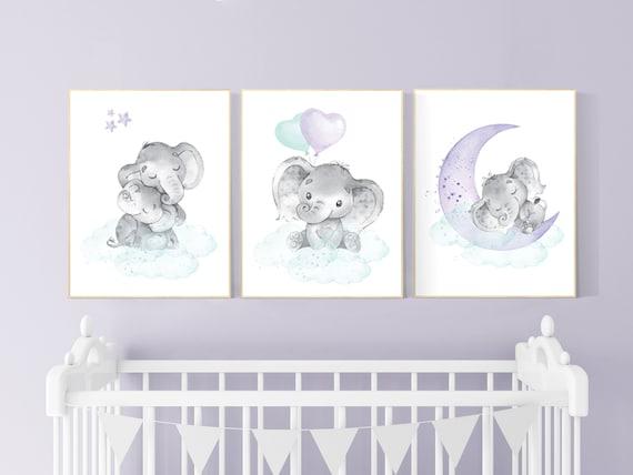 Nursery decor girl purple teal, elephant nursery, nursery decor girl purple, lilac, lavender, mint, nursery decor elephant, girl nursery