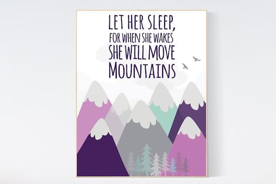 Nursery decor girl adventure, mountain nursery decor, mountain nursery, purple nursery, adventure nursery, let her sleep for when she wakes