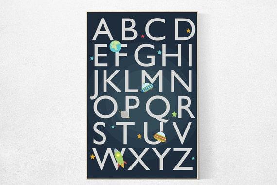 Boys room decor, alphabet letters, playroom decor, Outer Space Room Art, toddler decor, space art, children room, gift, alphabet nursery Art