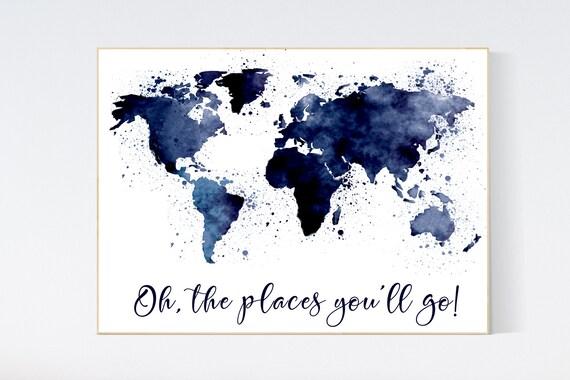 Nursery decor travel, Navy blue world map, world map nursery decor, nursery world map, nursery decor boy map, navy nursery, world map