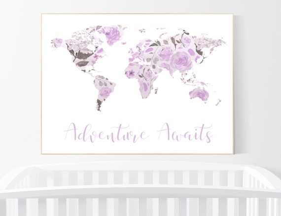 Nursery decor purple, Floral World Map, Girl Nursery Decor, Travel Nursery Art, floral Nursery Print, lilac, lavender, Adventure Awaits