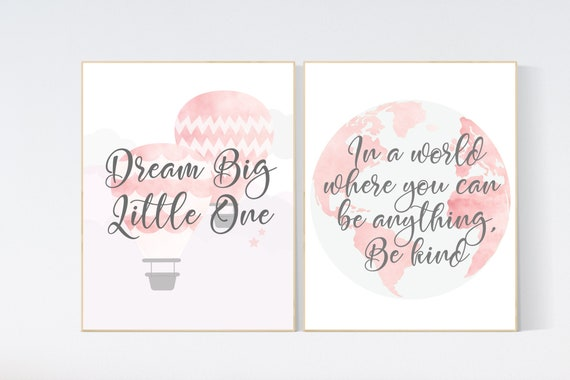 Blush pink nursery, nursery decor girl, globe nursery, travel theme, dream big little one, hot air balloon, girl room decor, blush nursery