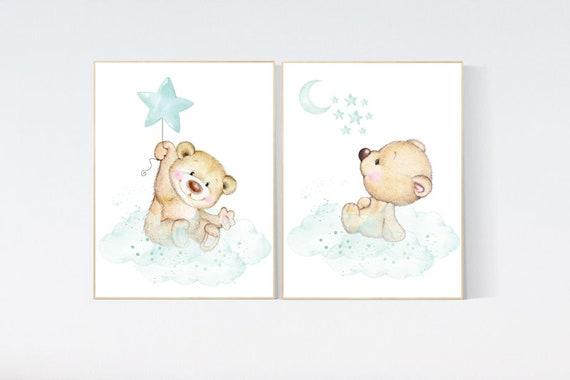 Nursery wall art bear, nursery decor animals,  nursery decor woodland, nursery prints mint, teddy bear, mint green nursery