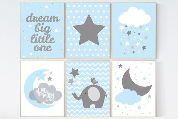 CUSTOMIZE! Nursery decor boy, nursery decor wall art, boys room decor, blue gray, blue grey, boy bedroom decor, nursery decor elephant