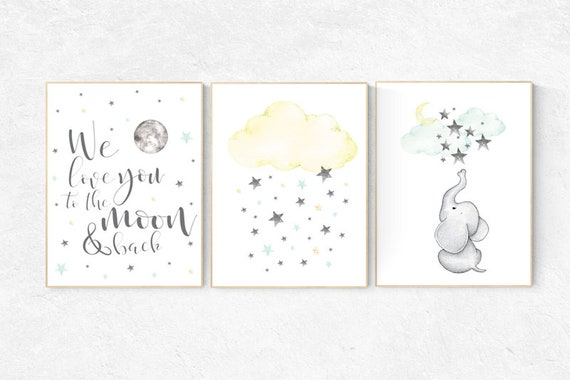 We love you to the moon and back, moon and stars nursery, gender neutral nursery, nursery decor boy teal, Yellow mint nursery