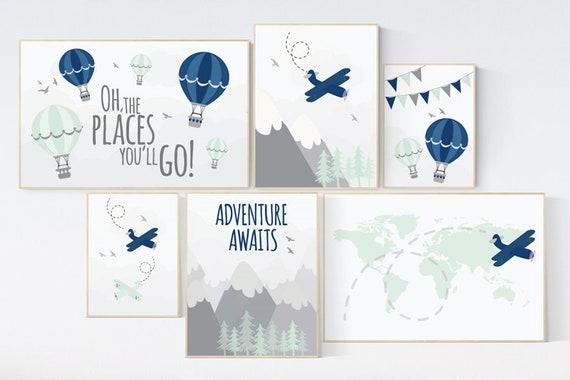 Adventure nursery decor, Nursery decor boy mountains adventure, nursery decor boy airplane, world map, adventure awaits, mountain, navy mint