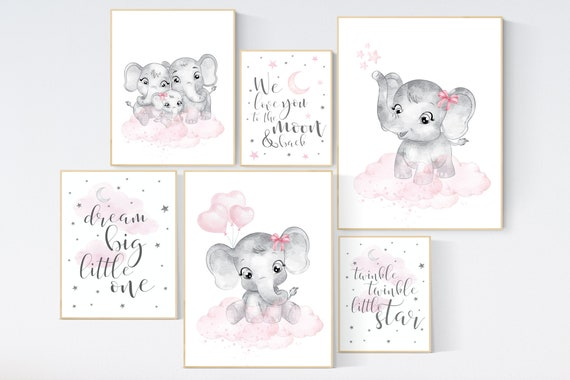 Nursery wall art girl elephant, pink grey, nursery decor girl pink, moon and stars, girl nursery wall decor, elephant prints, pink gray