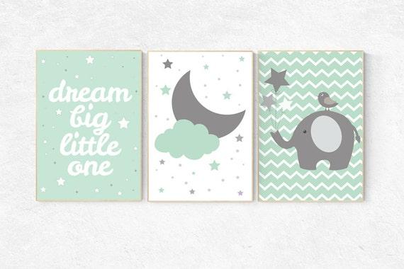Mint nursery decor, dream Big little one, mint green nursery decor, playroom decor, gender neutral nursery decor, mint green, cloud nursery