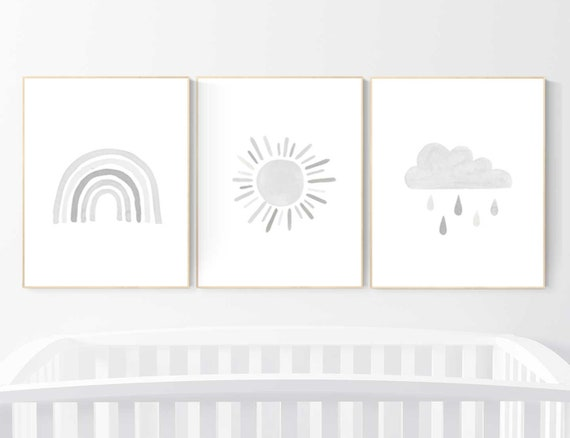 Nursery prints rainbow, Nursery decor gender neutral, nursery wall art neutral, gray nursery, moon star, cloud, nursery art, grey nursery