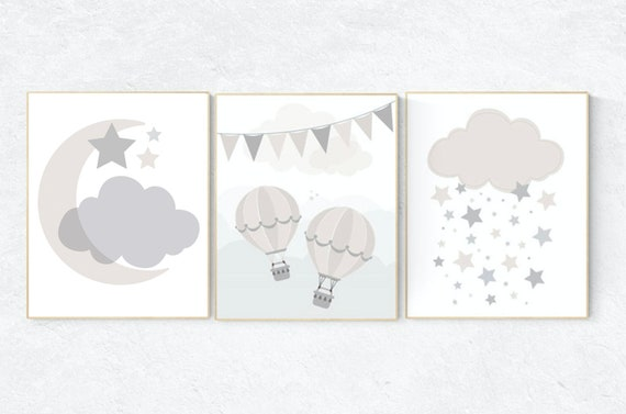 Gender neutral nursery, Cloud nursery, beige and cream, hot air balloon, Nursery Decor, Gray Beige, gender neutral nursery, gray nursery
