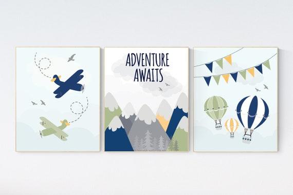 Adventure nursery decor, nursery decor airplane, world map nursery, adventure awaits, travel theme, gender neutral, mountain nursery