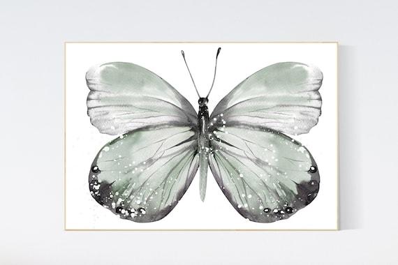 Nursery decor girl butterfly, sage green, green nursery, Butterfly Nursery Art, girls room, butterfly prints, Butterfly Art, olive green