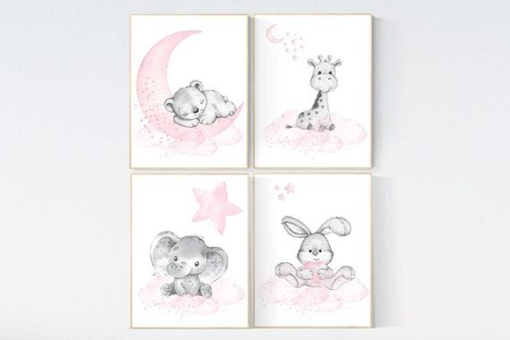 CANVAS LISTING: Nursery decor girl, elephant, bear, giraffe, bunny, animal nursery, bunny nursery art, moon, star, bear nursery