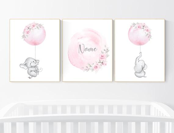 Nursery prints girl, elephant nursery, pink nursery, floral nursery, girl nursery decor flower, name, balloon nursery, baby girl room decor